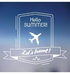 Travel outline plane emblem on blurred background vector