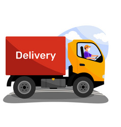 Truck with word delivery on workbody and driver in vector