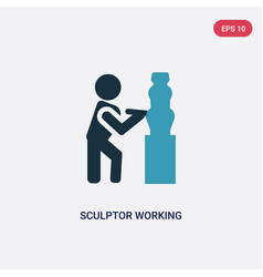 Two color sculptor working icon from people vector