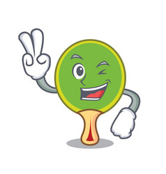 Two finger ping pong racket character cartoon vector