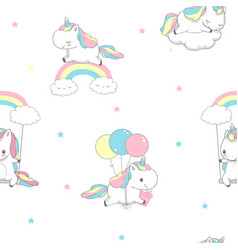unicorn over rainbow children seamless pattern vector image