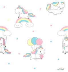 Unicorn over rainbow children seamless pattern vector