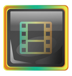video gallery grey square icon with yellow and vector image