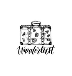 Wanderlust poster with hand lettering vector
