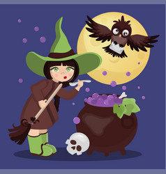 witch potion mystic holiday cartoon vector image