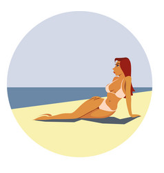 woman rest on seaside vector image