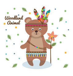 Woodland animal with feather crown vector