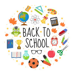 back to school icon set in round shape flat vector image