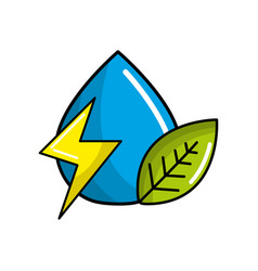 drop of water with energy sign and leaf vector image vector image