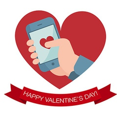 Hand holding mobile phone with heart icon vector image vector image