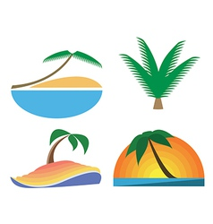 Palm-tree icons Tropic symbols vector image vector image