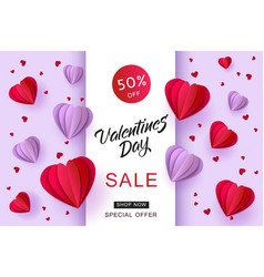 valentines day sale paper origami heart vector image vector image