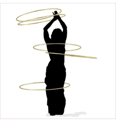 Woman dancing with many hula hoops vector image