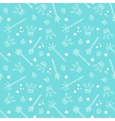 Crowns and Magic Wands Pattern vector image