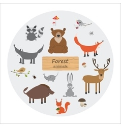 Forest animals in cartoon style vector image vector image