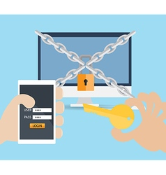 hand use key and username password on mobile vector image vector image