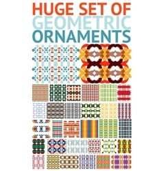 Huge set of abstract geometric ornaments patterns vector image