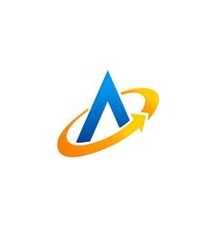 letter A circle arrow technology logo vector image