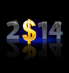 new year 2014 metal numerals with usa dollar vector image vector image