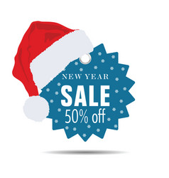 new year sale with christmas hat vector image vector image
