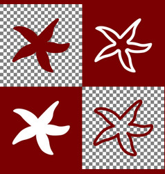 sea star sign bordo and white icons and vector image vector image