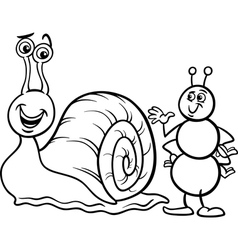 ant and snail coloring page vector image