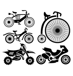 Bicycle and motorbike icons collection vector