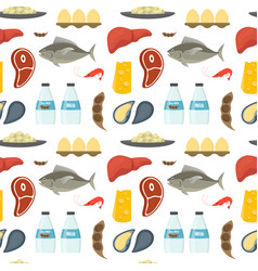 cartoon food with vitamin b12 background pattern vector image vector image