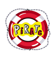 lifebuoy from pirate sailing vessel icon vector image vector image