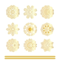 Oriental gold pattern set vector image vector image