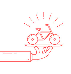 red thin line hand holding bicycle on dish vector image vector image