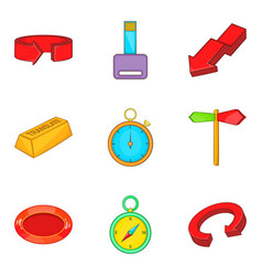 turn icons set cartoon style vector image vector image