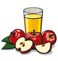 glass apple juice vector image vector image