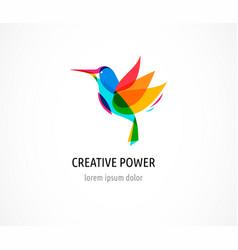 hummingbird abstract bird colorful icon vector image vector image