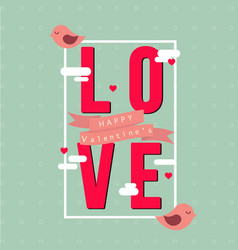 love in square happy valentines pink bird blue bac vector image