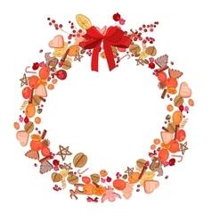 Round festive wreath on white vector image vector image