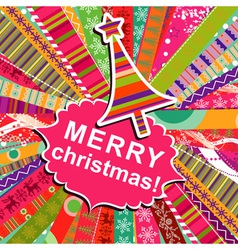 scrapbook christmas patterns greeting card for des vector image