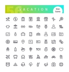 Vacation Line Icons Set vector image