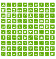 100 antiterrorism icons set grunge green vector image