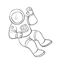 a children coloring bookpage a cartoon cosmonaut vector image