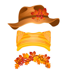 a set of stylish hats and headdresses in the style vector image