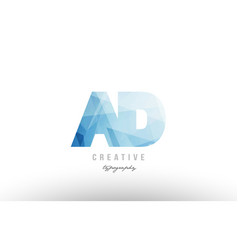 Ad a d blue polygonal alphabet letter logo icon vector
