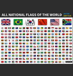 All national flags of the world realistic waving vector