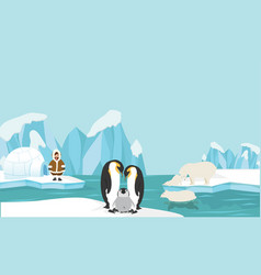 Animals and people of north pole arctic landscape vector