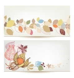 Autumn banners Fall leaves and fruits header set vector