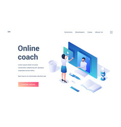 Banner template with information about online vector