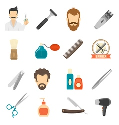 Barber color icons vector