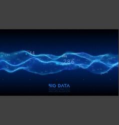 Big data blue wave visualization futuristic vector