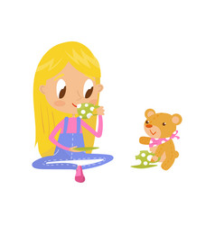 Blonde little girl playing with her teddy bear at vector
