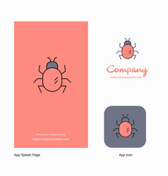 bug company logo app icon and splash page design vector image